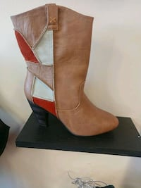 brown and white leather stacked heel mid-calf boot Wichita, 67218