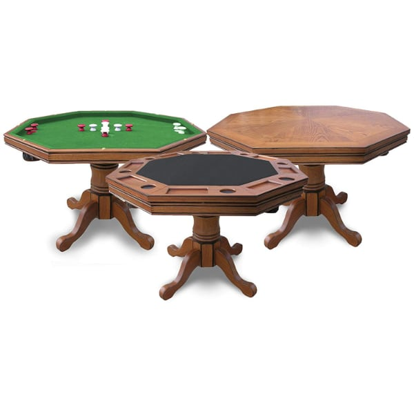 Price Reduced: Oak Convertible 3-in-1 Poker Table w/ 4 matching oak/leather chairs