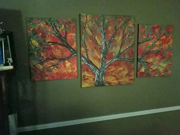 red and green leaf plant painting