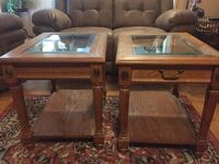 Wood end tables with glass top The Village, 73120