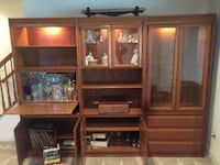 brown wooden TV hutch with flat screen television ASHBURN