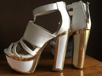 women's white-and-brown leather open-toe ankle-strap chunky heels