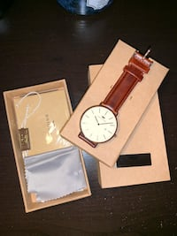 Brand New Unisex Rose Gold Brigada Swiss Watch with a Leather Strap Vaughan