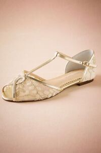 Bridal Shoes - Bella Belle Maisie Embroidered T-Strap Flats  Toronto