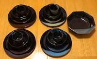 SANGO ? SERVICE FOR 4 & SERVING BOWL. MULTICOLORED STONEWARE DISHES PLATES JAPAN Seekonk, 02771