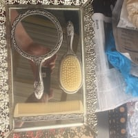 stainless steel mirror with comb set 35 mi