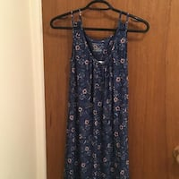 blue and pink floral sleeveless maxi dress CALGARY