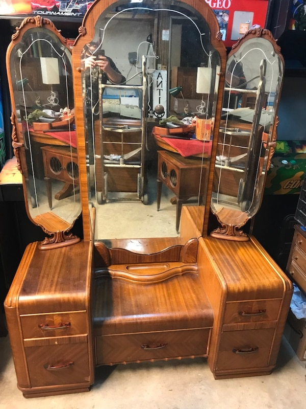123b1cac36c Used Art Deco Waterfall Vanity with Hand-Carved   Beveled Triple ...