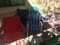 6 chairs 3 patio and 3 camping