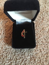 Methodist cross and flame lapel pin