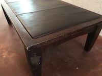 Wood and leather coffee table Grand Terrace, 92313