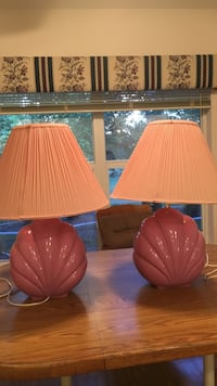 two pink ceramic bases with pink cone shape lamp shades Inverness, 34453