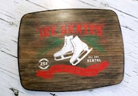 Ice skates wood sign
