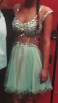 women's teal and silver dress  size 4