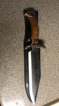 brown handled gray bowie knife and black leather sheath Carrollton, 75007