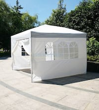 New $100 White 10' x 10' EZ Pop Up Canopy w/ 4 Side Walls, Carrying Bag Alhambra
