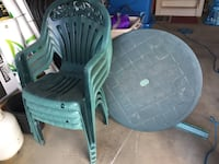 Green armchairs & patio table