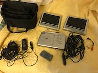 Gray portable DVD player with remote, two monitors, and AC adapter Chesapeake, 23325