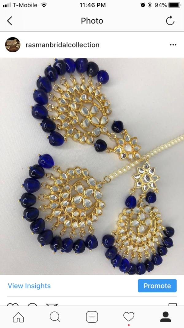 blue and yellow beaded necklace