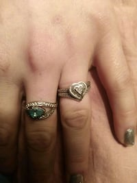 silver-colored ring with green gemstone Bunkie, 71322