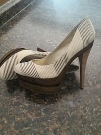 white and brown striped slip on shoes