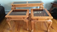 Three brown wooden framed glass top tables Brentwood, 11717
