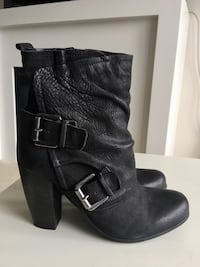 Leather Mid Ankle Calf Chunk Heel Booty with Buckles Burnaby, V5C 0C5