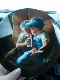 boy and girl-printed decorative plate