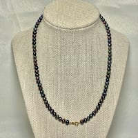 Black Pearl Necklace with 10k Gold Clasp Sterling, 20165
