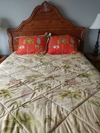 beige and green palm plant printed bedsheet set