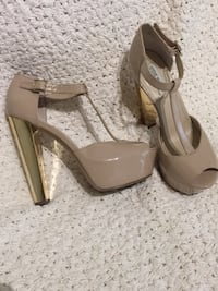 Pair of brown leather peep-toe platform stilettos Montreal East