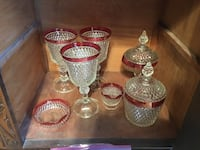 44 piece lot of vintage Fostoria flashed ruby / cranberry elegant glassware