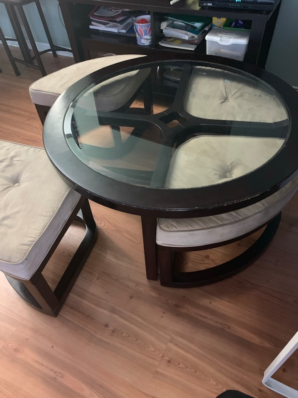 Coffee table with stools underneath 4fa3b4a4-3c9f-4c7e-976b-b80d756f0a59