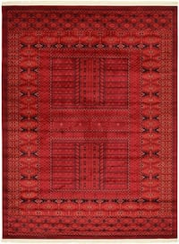 Brand new Bokhara design area rug size 8x11 nice red carpet Persian style rugs