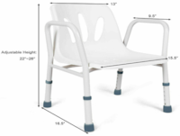 New- Height Adjustable Shower Chair Bath Bench Seat w/Arms White Mississauga