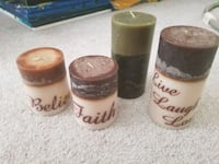 Live laugh love believe and faith candles unused.  Houston, 77095