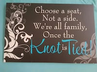 Knot is Tied Seating Sign  Edmonton, T5C 0Z8