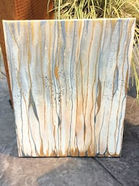 Original gold and pewter abstract art on canvas Delta, V4E 2Y2