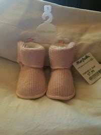 pair of toddler's pink UGG knitted boots