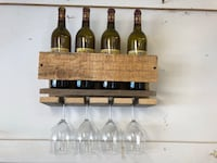 Rustic pallet wood wine bottle and glass rack Marquette Heights, 61554