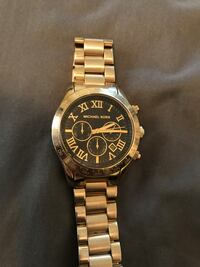 round gold Michael Kors chronograph watch with link bracelet Seattle, 98108