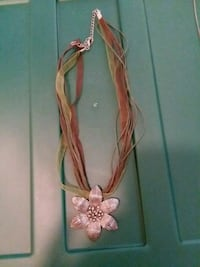 grey flower pendant brown necklace Albia, 52531