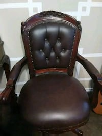 brown wooden framed black leather padded armchair Burleson, 76028