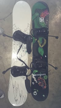 black and green snowboard with bindings Edmonton, T5P 2S3