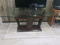 rectangular brown wooden framed glass top table Whitby, L1N 8B8