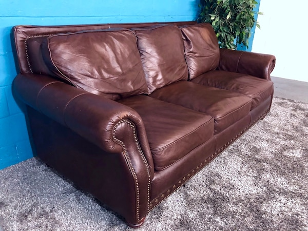 Brown Genuine Leather Sofa Free Delivery