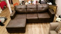 brown leather sectional sofa with ottoman Annandale, 22003