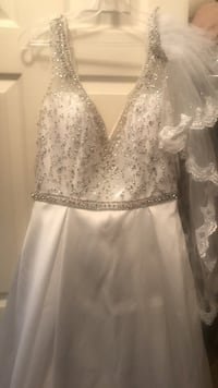 Wedding gown, veil and scarf
