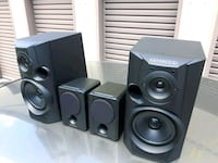 black and gray multimedia speaker system