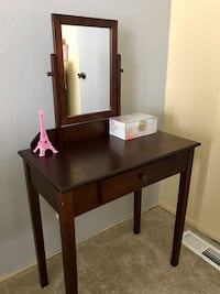brown wooden vanity table with mirror 2237 mi